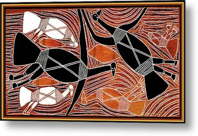 Aboriginal Birds Metal Print