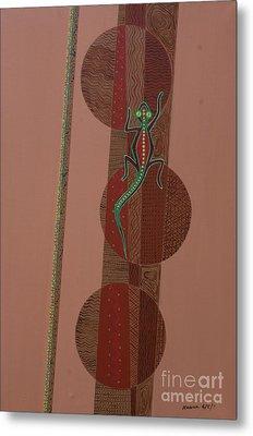 Aboriginal Lizard Metal Print