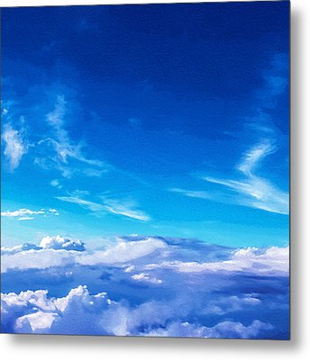 Above The Clouds Sky Is Always Blue Metal Print by Mari Biro
