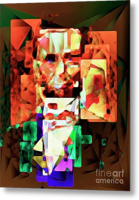Metal Print featuring the photograph Abraham Lincoln In Abstract Cubism 20170327 by Wingsdomain Art and Photography