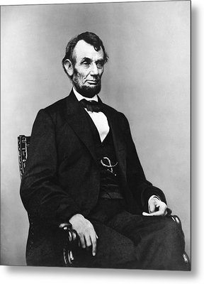 Metal Print featuring the photograph Abraham Lincoln Portrait - Used For The Five Dollar Bill - C 1864 by International  Images