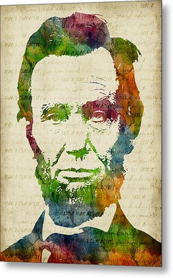 Abraham Lincoln Watercolor Metal Print