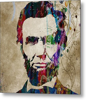 Abraham Lincoln Watercolor Modern Abstract Pop Art Color Metal Print