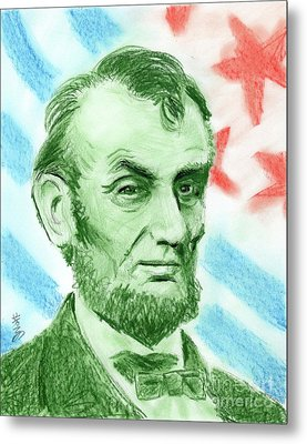 Metal Print featuring the drawing Abraham Lincoln  by Yoshiko Mishina