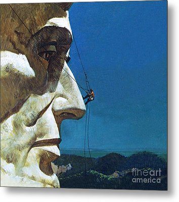 Abraham Lincoln's Nose On The Mount Rushmore National Memorial  Metal Print by English School