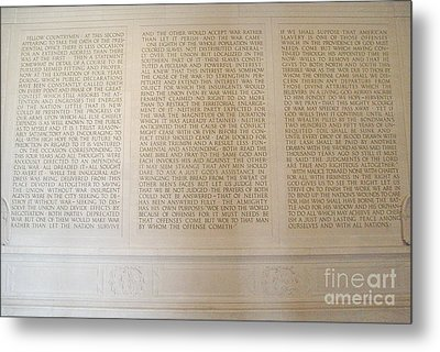 Abraham Lincoln's Second Inaugural Address Metal Print by Tom Doud