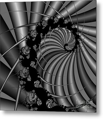 Abstract 112 Bw Metal Print by Rolf Bertram