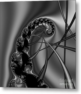 Abstract 122 Bw Metal Print by Rolf Bertram