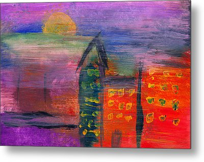 Abstract - Acrylic - Lost In The City Metal Print by Mike Savad