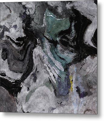 Metal Print featuring the painting Abstract And Minimalist Acryling Painting In Gray Color by Ayse Deniz