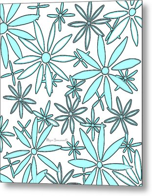Abstract Aqua White Daisy Flower Pattern Floral Fiesta 3 By Megan Duncanson Metal Print by Megan Duncanson