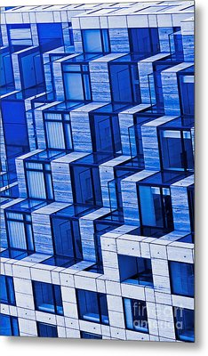 Abstract Architecture In Blue Metal Print by Mark Hendrickson