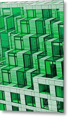 Abstract Architecture In Green Metal Print by Mark Hendrickson