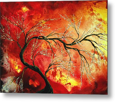 Abstract Art Floral Tree Landscape Painting Fresh Blossoms By Madart Metal Print by Megan Duncanson