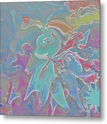 Abstract Art Fun Flower By Sherriofpalmspring Metal Print