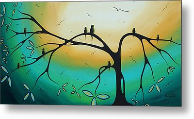 Abstract Art Landscape Bird Painting Family Perch By Madart Metal Print by Megan Duncanson