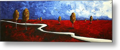 Abstract Art Original Landscape Painting Winding Road By Madart Metal Print by Megan Duncanson