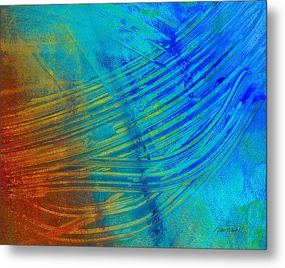 Abstract Art  Painting Freefall By Ann Powell Metal Print