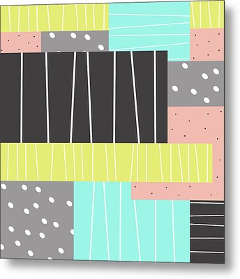 Abstract Art Stripes And Dots Metal Print