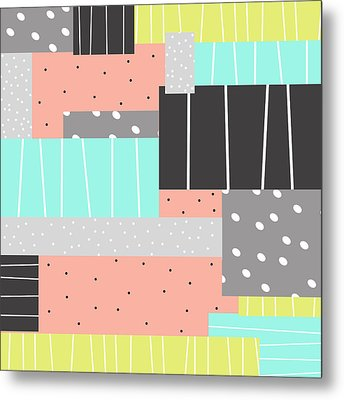 Abstract Art Stripes And Dots Two Metal Print