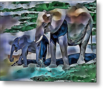 Abstract Baby Elephant  Metal Print
