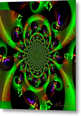 Metal Print featuring the photograph Abstract Black And Green by Miriam Shaw