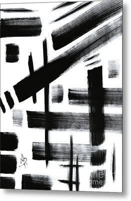 Abstract Black And White Original Unique Painting Black-white Iv By Madart Metal Print by Megan Duncanson