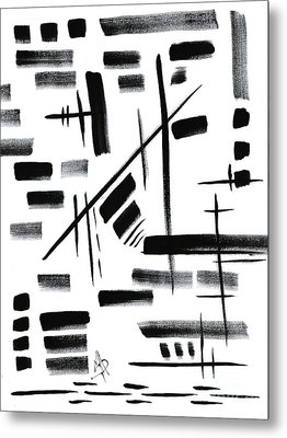 Abstract Black And White Original Unique Painting Black-white V By Madart Metal Print by Megan Duncanson