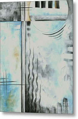 Abstract Blue Gray Yellow Original Painting Contemporary Fine Art Print By Madart Metal Print by Megan Duncanson