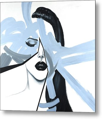 Abstract Blue Woman Portrait Metal Print