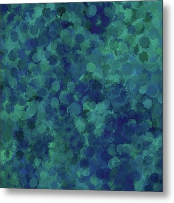 Metal Print featuring the mixed media Abstract Blues 1 by Clare Bambers