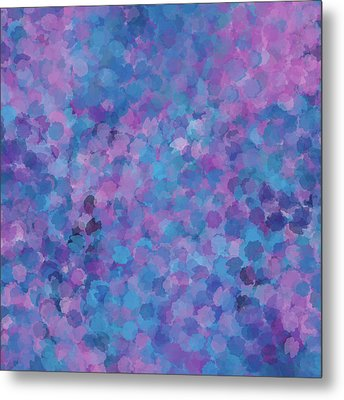 Metal Print featuring the mixed media Abstract Blues Pinks Purples 3 by Clare Bambers