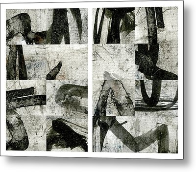 Abstract Calligraphy Collage Diptych Metal Print