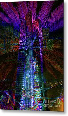 Abstract City In Purple Metal Print by Barbara Dudzinska