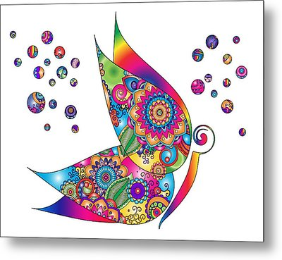 Abstract Colorful Butterfly Metal Print by Serena King