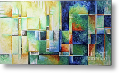 Abstract Colorful Contemporary Art Original Painting A Checkered Life By Megan Duncanson Madart Metal Print by Megan Duncanson
