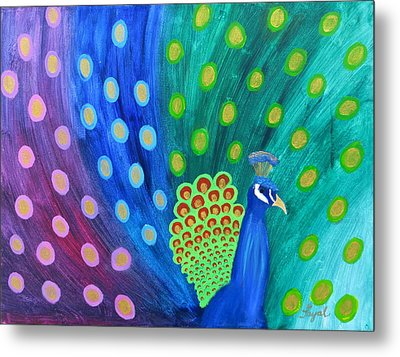 Abstract Colorful Peacock Metal Print