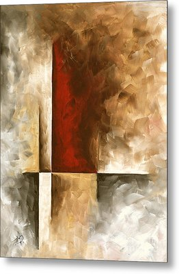 Abstract Contemporary Art Original Painting In Neutral Shades With Red Burnished I By Madart Metal Print