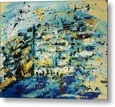 Abstract Contemporary Western Wall Kotel Prayer Painting With Splatters In Blue Gold Black Yellow Metal Print by M Zimmerman