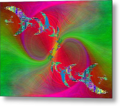 Metal Print featuring the digital art Abstract Cubed 383 by Tim Allen