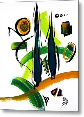 Abstract Cypress Trees Pop Art Style Original Painting Glory Days By Megan Duncanson Metal Print by Megan Duncanson