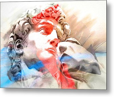 Metal Print featuring the painting Abstract David Michelangelo 2 by J- J- Espinoza
