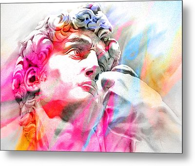Metal Print featuring the painting Abstract David Michelangelo 4 by J- J- Espinoza