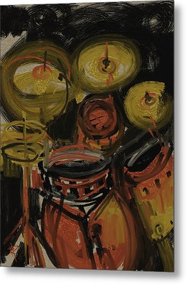 Abstract Drums Metal Print