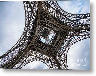 Abstract Eiffel Tower Looking Up 2 Metal Print by Mike Reid