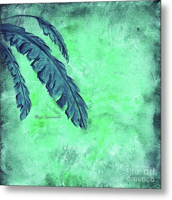 Abstract Floral Fauna Banana Leaf Tropical Aqua Splash Abstract Art By Megan Duncanson  Metal Print by Megan Duncanson