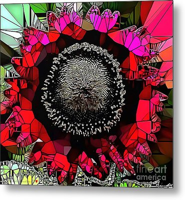 Abstract Floral Stained Glass Painting Metal Print by Catherine Lott