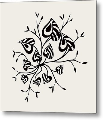 Abstract Floral With Pointy Leaves In Black And White Metal Print