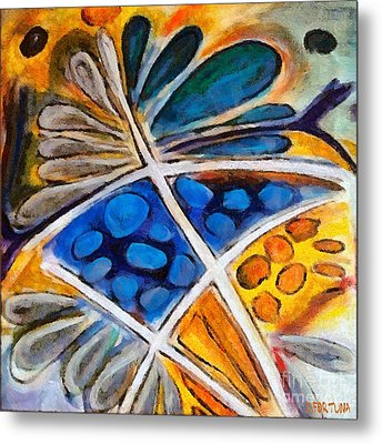 Metal Print featuring the painting Abstract Flower by Dragica  Micki Fortuna