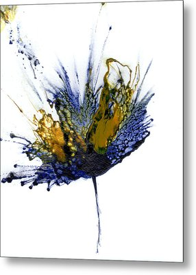 Abstract Flower Navy Blue Yellow 1 Metal Print by Catherine Jeltes